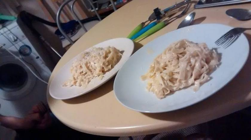 Delicious carbonara, all freshly made by my own fair hand!